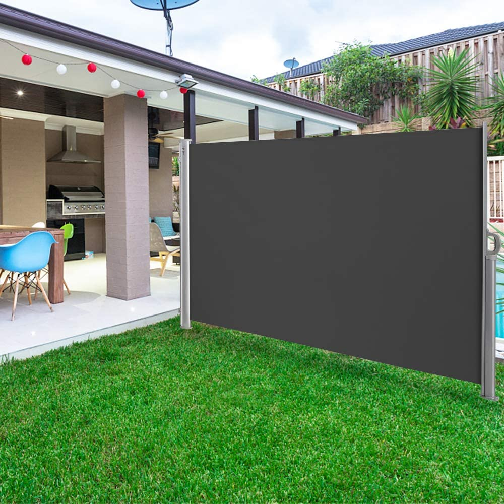 VINGLI 63 x 118 Patio Retractable Side Screen Awning Side Awning Waterproof Sun Shade Wind Screen Fence Privacy Divider with Aluminium Pole Dark Grey