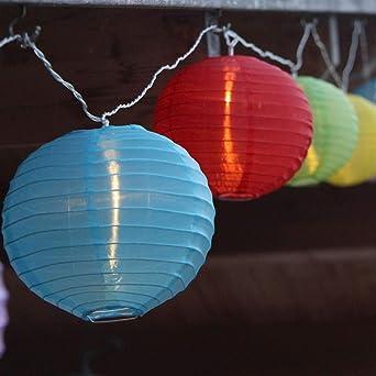 Sommerlichterkette LED-Sommerlichterkette mit bunten Lampions XXL 15 Lampions