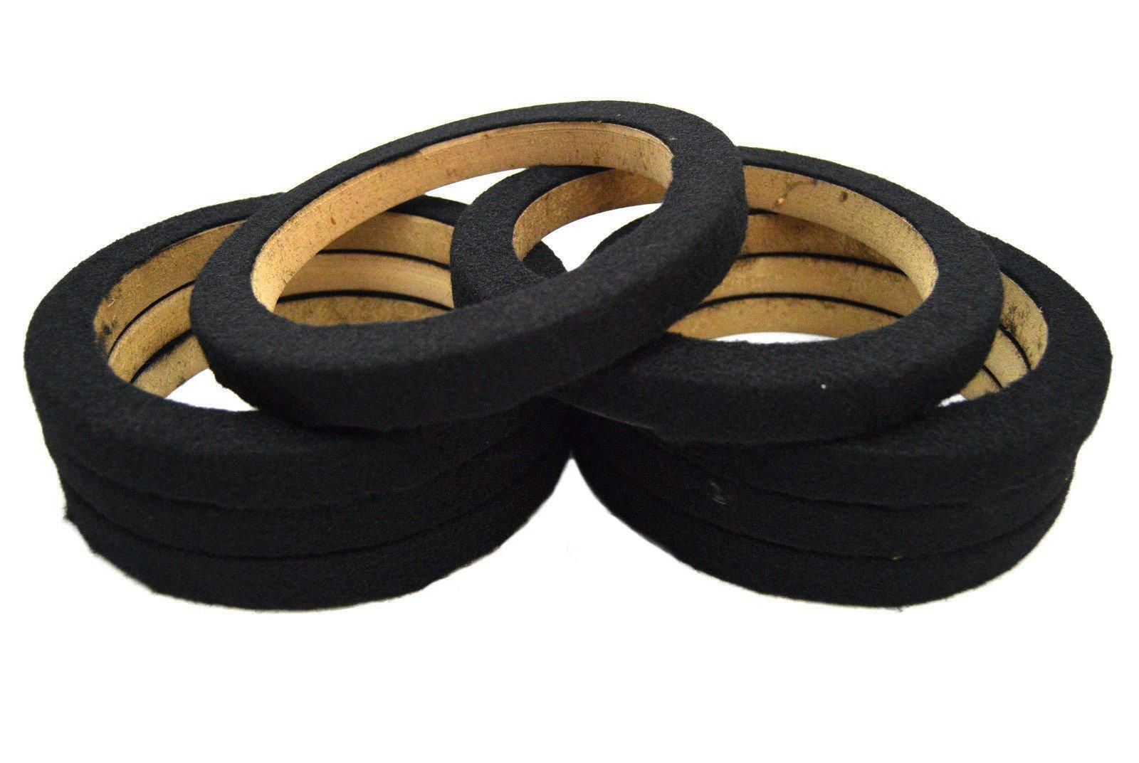 Nippon America 8 Pieces 6.5 Inch MDF Wood Speaker Spacer Rings with Black Carpet 4 Pair