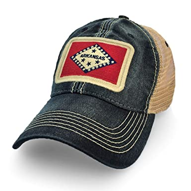 a7c54ac2897 Image Unavailable. Image not available for. Color  State Legacy Revival  Arkansas Flag Patch Trucker Hat ...