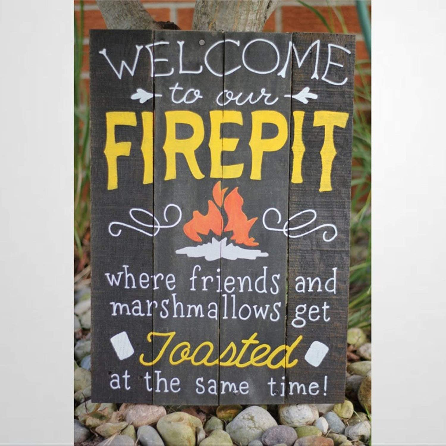 BYRON HOYLE Welcome to Our Firepit Wood Sign,Wooden Wall Hanging Art,Inspirational Farmhouse Wall Plaque,Rustic Home Decor for Living Room,Nursery,Bedroom,Porch,Gallery Wall