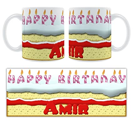 De cumpleaños Amir - moldes para servir tarta personalizable taza de cerámica