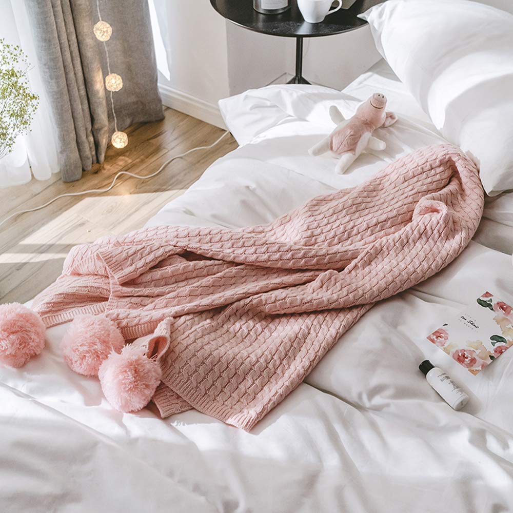 GYFY Textil sofá Manta algodón Knit Bola Manta Simple Moderno Estilo nórdico Toalla Manta,Lightpink: Amazon.es: Hogar