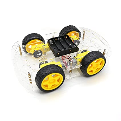 af0734b13 Image Unavailable. Image not available for. Color: YIKESHU 4WD Smart Motor  Robot Car Chassis Battery Box Kit Speed Encoder ...