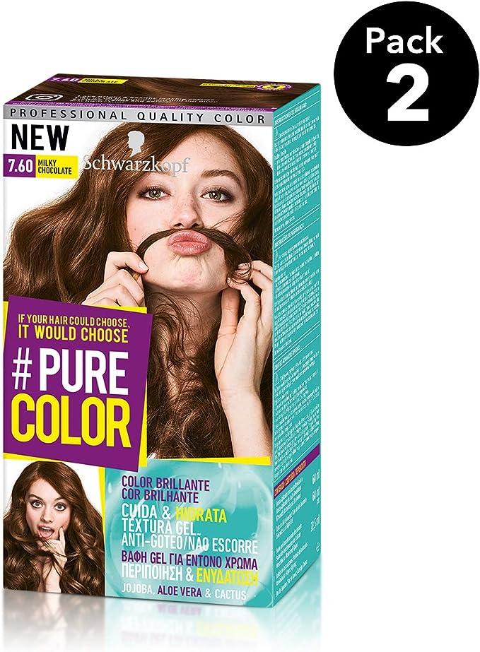 Pure Color de Schwarzkopf Tono 7.60 Milky Chocolate - 2 uds - Coloración Permamente