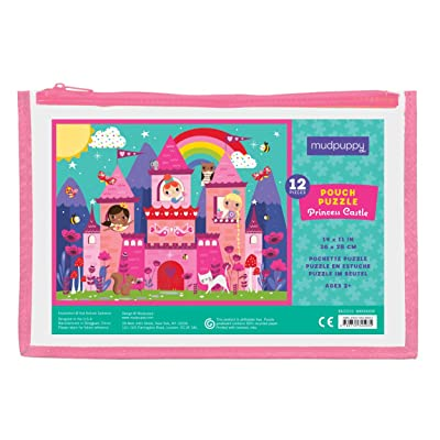 "Mudpuppy Princess Castle Pouch Puzzle, 12 Extra Thick Colorful Pieces, 14""x11"" – Great for Kids Age 2-4 – Perfect for Travel – Helps Develop Hand-Eye Coordination - Packaged in Secure, Reusable Pouch: Mudpuppy, Cameron, Kat K"