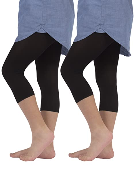 39e33eb6cee60 2 PAIRS X GIRLS CROPPED LEGGINGS SEMI OPAQUE | CAPRI FOOTLESS TIGHTS | 40  DEN | WHITE, BLACK | 4 TO 14 YEARS | ITALIAN HOSIERY |: Amazon.co.uk:  Clothing