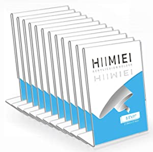 8.5x11 Acrylic Sign Holder, HIIMIEI Slant Back Sign Holders Portrait Ad Frames Clear Durable Flyer Display Stand for Office Home Store Restaurant Pack of 12