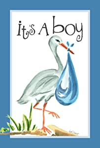 Toland Home Garden It's A Boy 28 x 40 Inch Decorative Cute New Baby Blue Stork House Flag