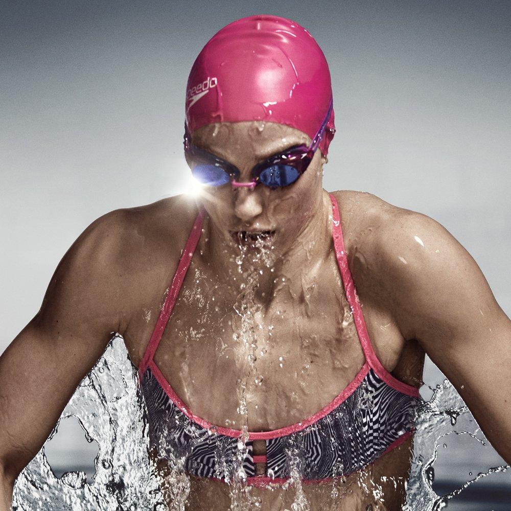 Speedo Women's Vanquisher 2.0 Mirrored Swim Goggles, Panoramic, Anti-Glare, Anti-Fog with UV Protection, Aqua, 1SZ by Speedo (Image #4)