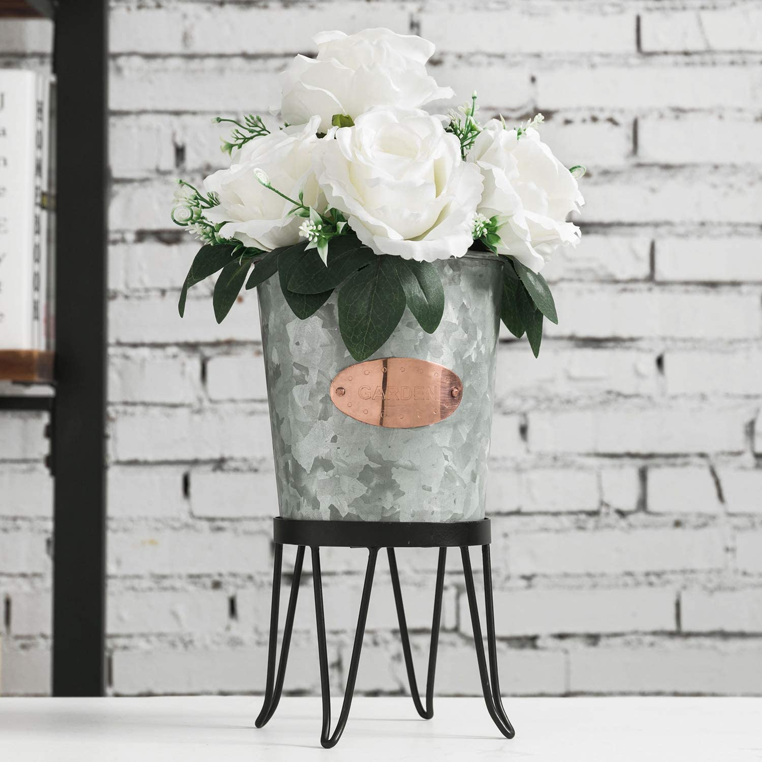 MyGift Galvanized Silver Metal Pail Style Plant Bucket, Planter Pot with Copper Garden Label & Black Metal Stand