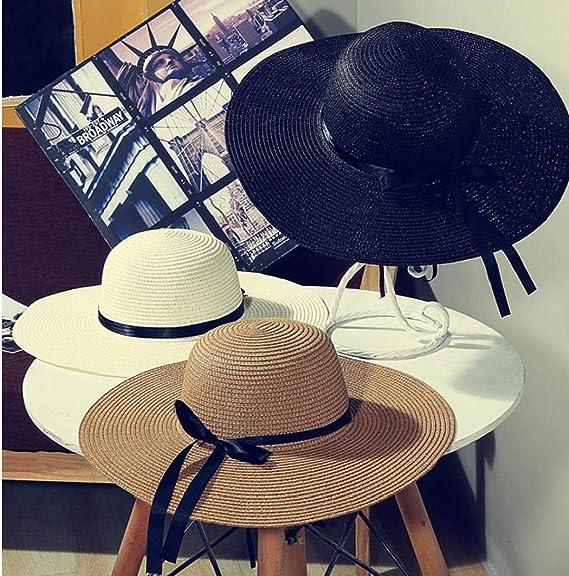Mujeres Protección UV Verano del Casquillo del Sombrero De Paja De ...