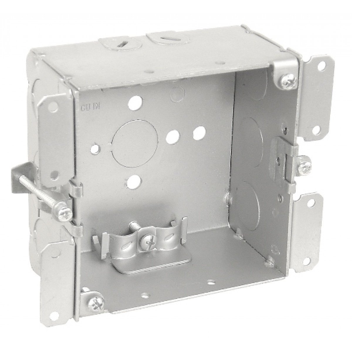 1 Pc, 4'' Square Cut In Old Work Junction Box, 2-1/8 In. Deep, (6) 1/2 In. Side Knockouts & (4) Nm Clamps; (1) 1/2 In. Bottom Knockout, .0625 Galvanized Steel