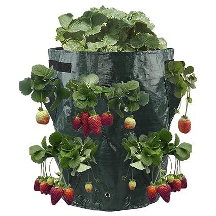 JYCRA Bolsa de cultivo para plantas de fresa de 11 galones, respetuosa con el medio ambiente, con 8 bolsillos laterales, bolsa de cultivo con asas ...