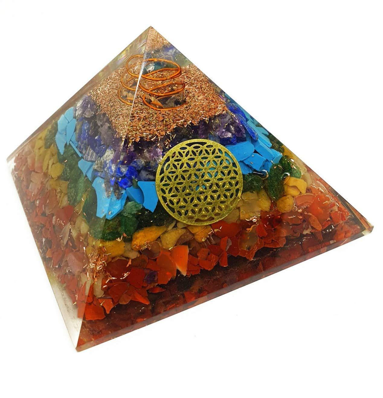 Orgonite Orgone Pyramid Meditation Psychic Boost Yoga Anti-Anxiety Kit EMF Protection Flower of Life 7 Chakra Healing Orgone Energy Accumulator Orgonite Crystal Pyramid for