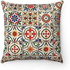 Modern Fashion Pillow Cover Moroccan Square Print Pillowcase Spanish Majolica Home Docor Retro Pillow Cover Living Room Bedding Home Decor Tuscan Decor Mediterranean Square Pillow Case Cushion Cover