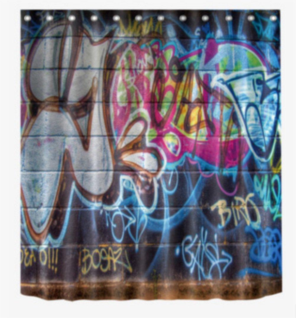 tejido set de decoraci/ón de ba/ño con ganchos hip-hop inspirado Colorful Graffiti Doodle Crazy Love tiempo arte de la calle impresi/ón DE calavera Arte cortina de ducha por chengsan