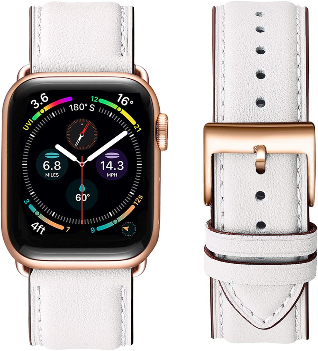 OMIU Square Bands Compatible for Apple Watch 38mm 40mm 42mm 44mm, Genuine Leather Replacement Band Compatible with Apple Watch Series 6/5/4/3/2/1, iWatch SE(White/Rose Gold Connector, 38mm 40mm)