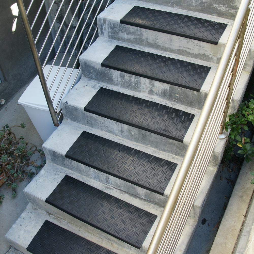 Rubber mats for stairs - Amazon Com Diamond Grip Recycled Rubber Step Mat 9 75 X 29 75 Inches Black Stair Tread Mat Doormats Patio Lawn Garden