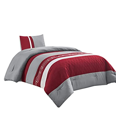 2 Piece Dark Burgundy Grey Down Alternative Comforter Set Twin Size Bedding Includes Comforter and Pillow Sham for Kids/Girls/Teens bedroom dorm room- LOLA(Burgundy/Grey, Twin): Home & Kitchen [5Bkhe1006292]