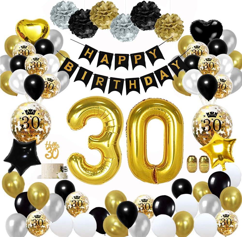 MMTX 30 Globos Cumpleaños Decoracione oro negro, Happy Birthday cumpleaños, Pompones de papel, Globos de papel de oro para hombres y mujeres Adultos Decoración de fiesta