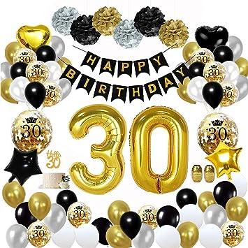 MMTX 30 Globos Cumpleaños Decoracione Oro Negro, Happy Birthday cumpleaños, Pompones de Papel, Globos de Papel de Oro para Hombres y Mujeres Adultos ...