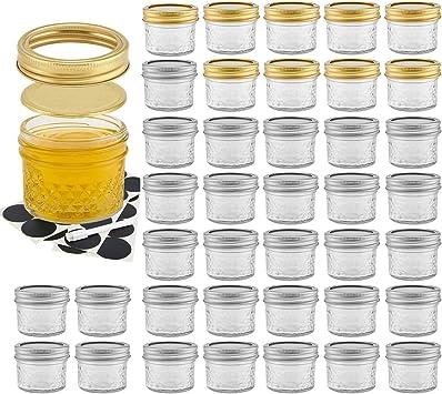 rojo y blanco con tapas de cuadros 8 cm etc tarros de cristal para conservas para JAM//Marmalada//Pickle//Chutney Juego de 6 tarros de cristal transparente para conservas