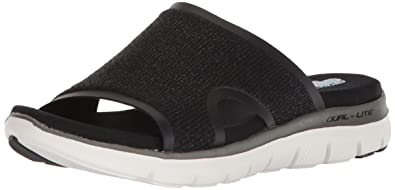 Skechers Women's Flex Appeal 2.0-Summer Jam-Casual Sporty Comfort Slide  Sandal, Black