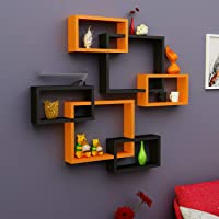 Onlineshoppee Intersecting MDF Wall Shelves Set of 6