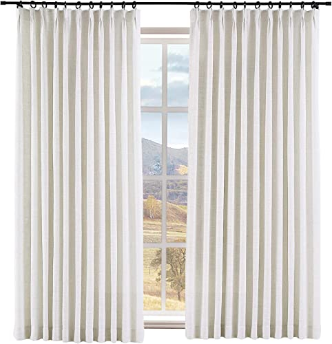 Macochico Thermal Insulated Faux Linen Room Darkening Curtains Pinch Pleated with Blackout Lining for Living Room Linen Textured Drapes 100W x 96L Beige White, 1 Panel