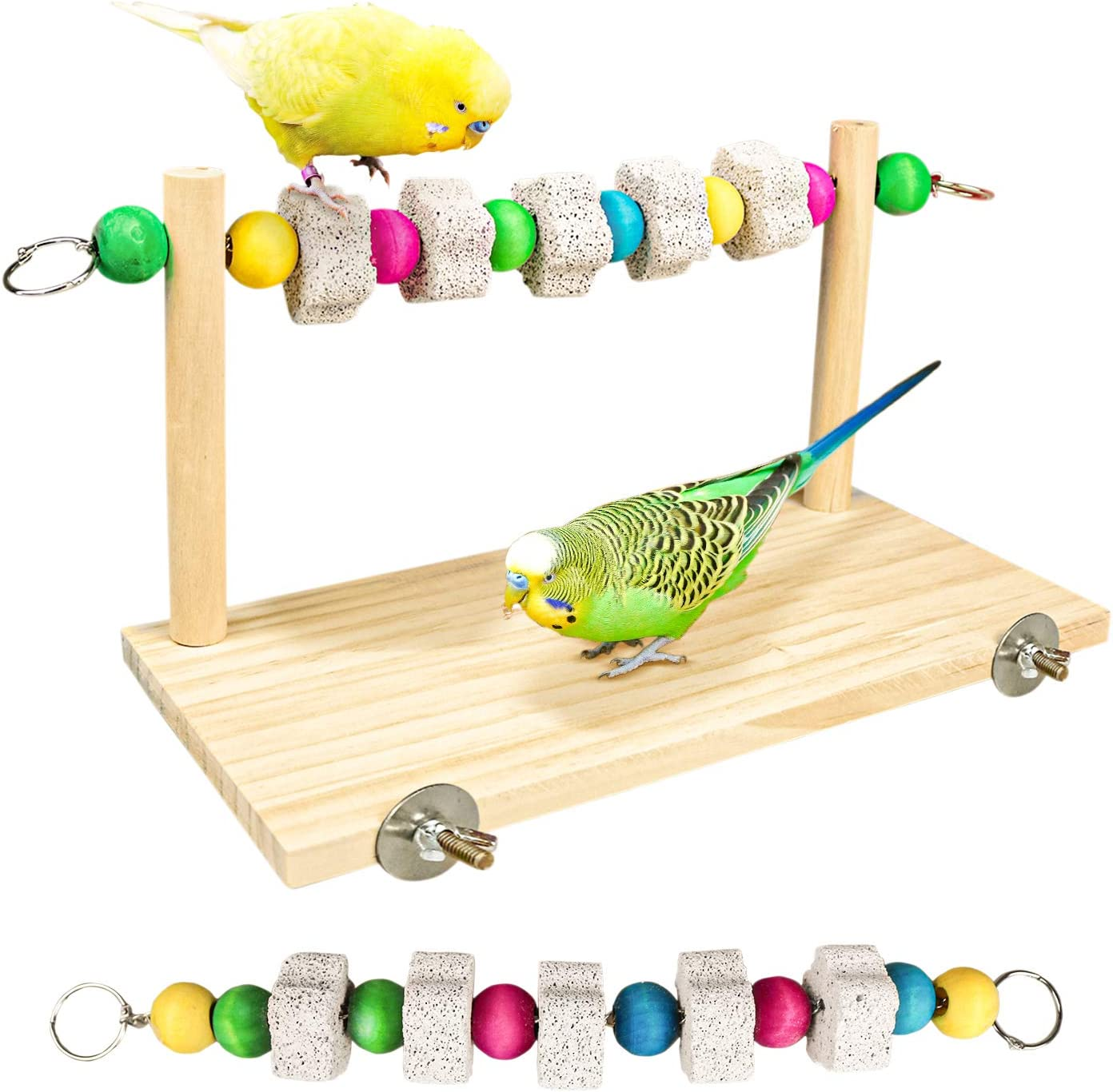 S-Mechanic Bird Cage Accessories, Wood Platform with Chew Toys Lava Ledge Blocks for Small or Medium Parrots,Parakeets,Finch,Mini Macao,Lovebirds