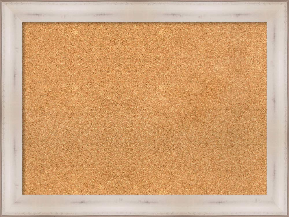 Amanti Art Natural Cork Allure White Framed Bulletin Boards, 33 x 25,