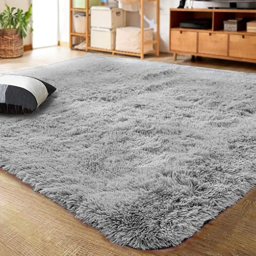 Amazon Com Lochas Ultra Soft Fluffy Area Rugs Indoor Living Room Carpets Suitable For Children Bedroom Home Decor Nursery Rugs With New Non Slip Backing 4x5 3 Feet Gray Kitchen Dining