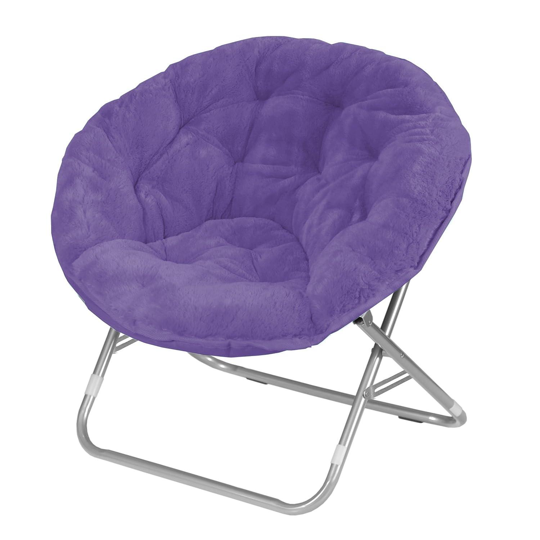 Urban Shop Faux Fur Saucer Chair, Purple