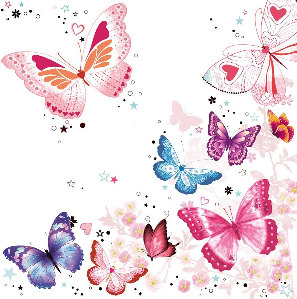 20/serviettes Jet fin Motif papillons//Animaux//Animaux//printemps///ét/é 33/x 33/cm