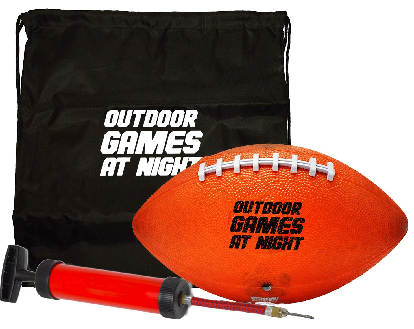 Outdoor Games LED Football with Pump and Bag - Light Up The Night with The Glow in The Dark Football (Button Activated)