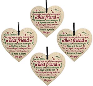 AOLUNO Wooden Hanging Sign Best Friend Birthday Gifts Thank You Heart Shaped Friendship Plaque Tags Crafts Christmas Home DIY Tree in Heaven Wall Hangings (4PCS)