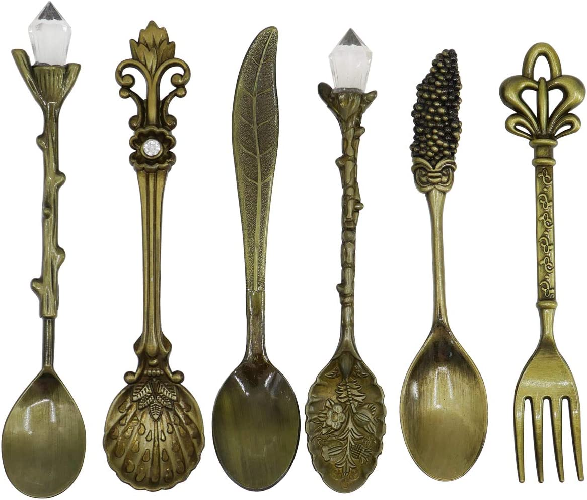 Retro Crystal Carved Coffee Cake Spoon Fork Ice Cream Scoop Kitchen Bar Flatware