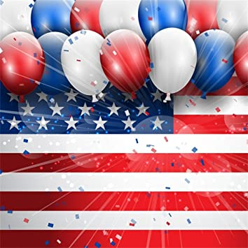 8x8FT Vinyl Wall Photography Backdrop,4th of July,Doodle Confetti Festive Background for Baby Birthday Party Wedding Studio Props Photography