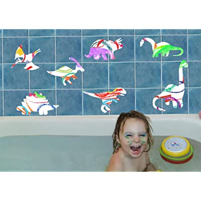 Bath Crayons for Kids with Dinosaur Vinyl Decals - 6 Colors Easy Cleanup: Toys & Games