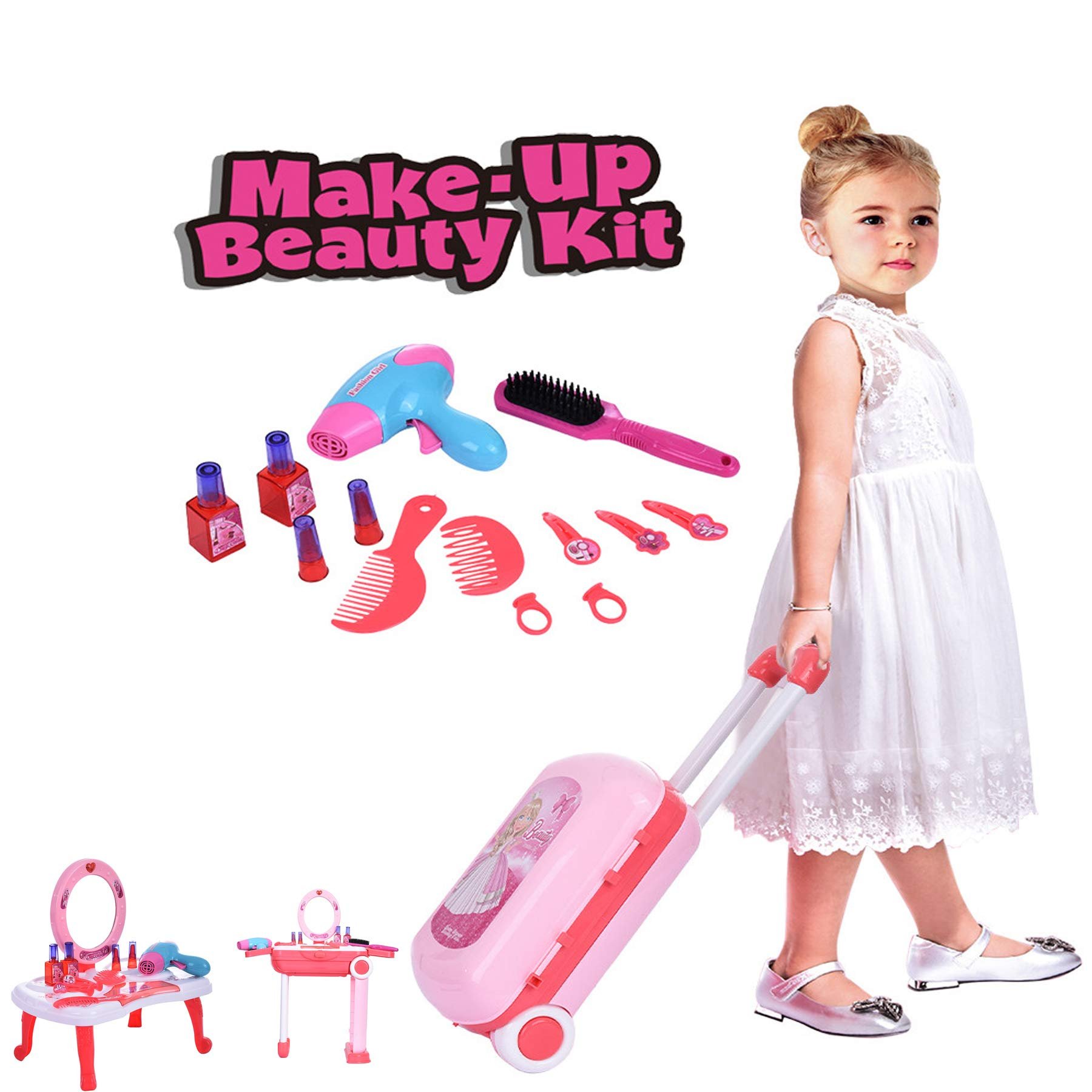 2 in 1 Play Make Up Case, Dressing Table&Suitcase Beauty Make Up Set Pretend Beauty Dress-up Salon Hair Dryer Suitcase for Little Girls Toddlers