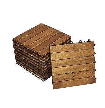 SAM® Dalle clic de terrasse en Bois d\'Acacia, Lot de 33 pour env. 3