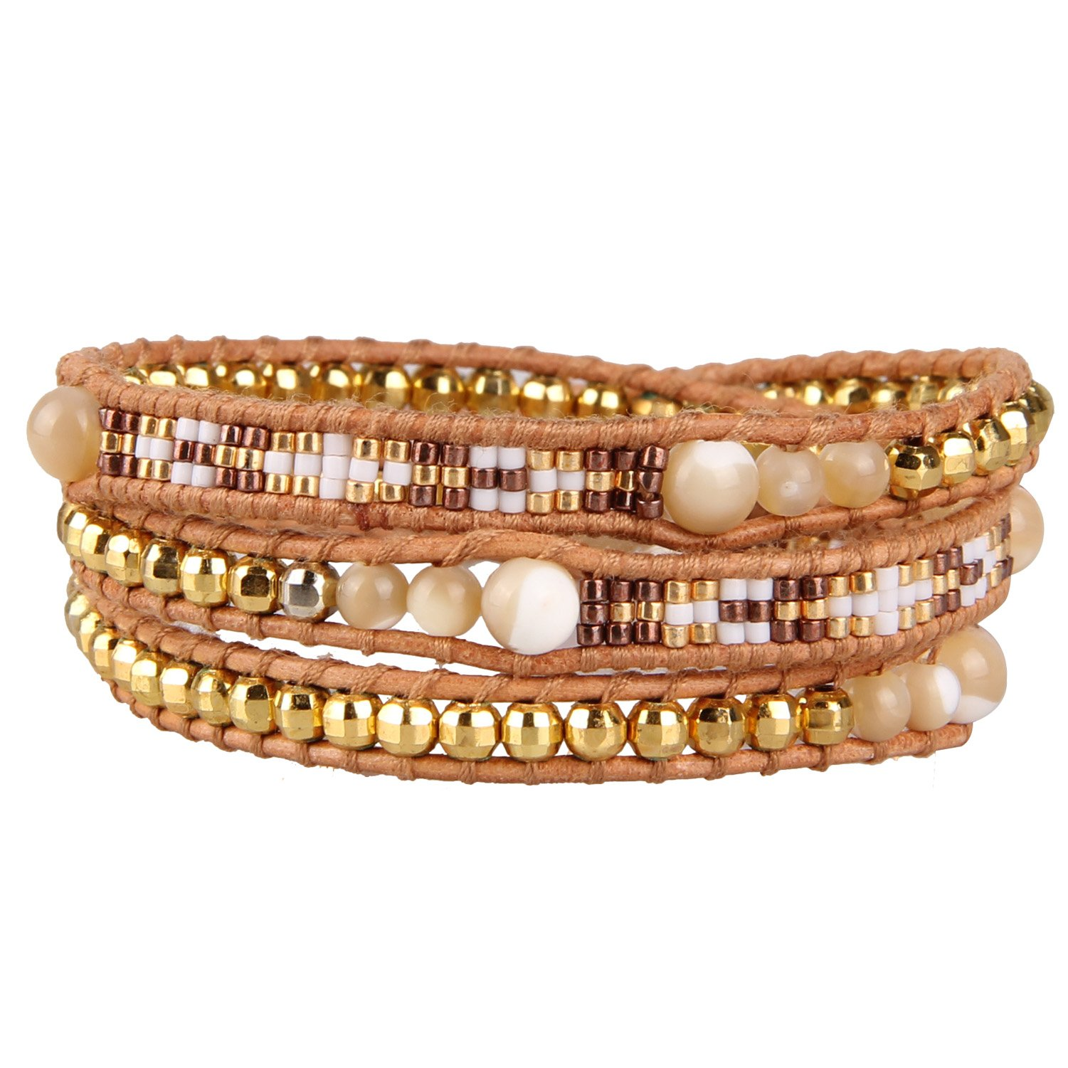 KELITCH Shell Seed Bead Handmade Charm 3 Wrap Bracelet for Christmas New Top Jewelry (Gold)