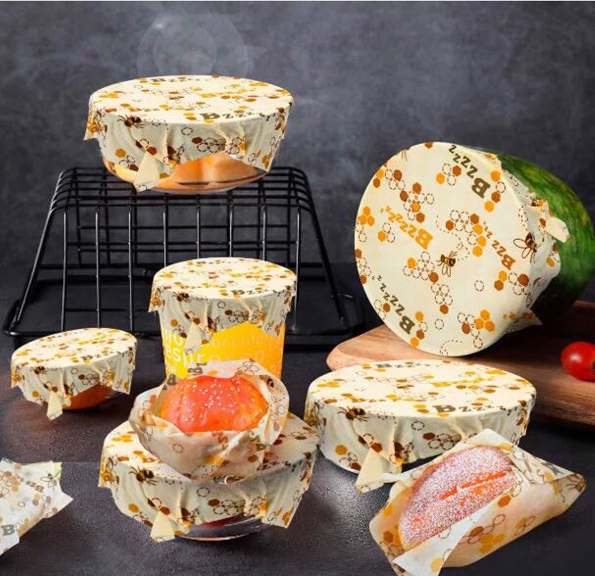 Bienenenwachs-Wraps Set aus Bio-Lebensmittelaufbewahrung, kein Abfall von Käse und Sandwich-Verpackungen, aus nachhaltigem Kunststoff, waschbare Schüsselbezüge a
