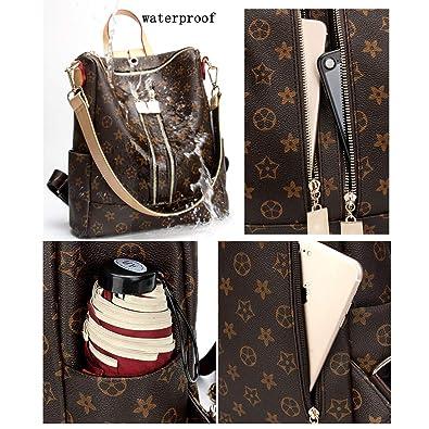 f55078ee1d0 Casual Purse Fashion School Leather Backpack Crossbady Shoulder Bag Mini  Backpack for Women & Teenage Girls BLACK BROWN