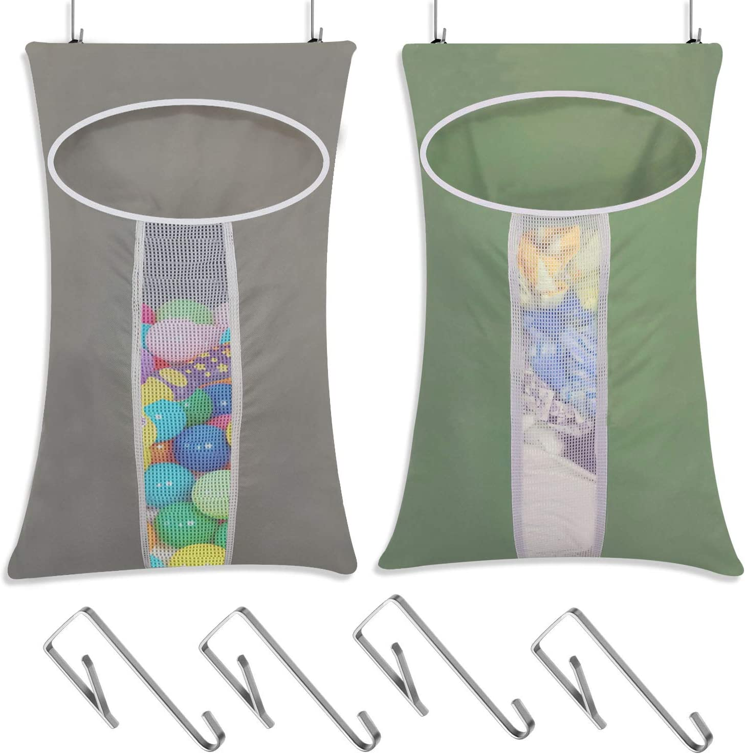 LAMTWEK 2 Pack Door-Hanging Laundry Hamper Bag, Rip-Stop Toy Storage Bag, Foldable & Space Saving Corner Laundry Organiser with 4PCS Stainless Steel Door Hooks, Machine Washable Oxford (Green+Grey)