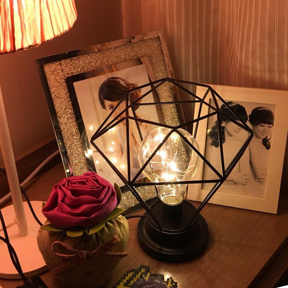 Kommode Metall Rose Nachtlicht f/ür Schlafzimmer JYCRA Diamant-Tischlampe kreativer Geometrie-Stil Kinderzimmer Wohnzimmer Schreibtisch-Dekoration 19,5 cm