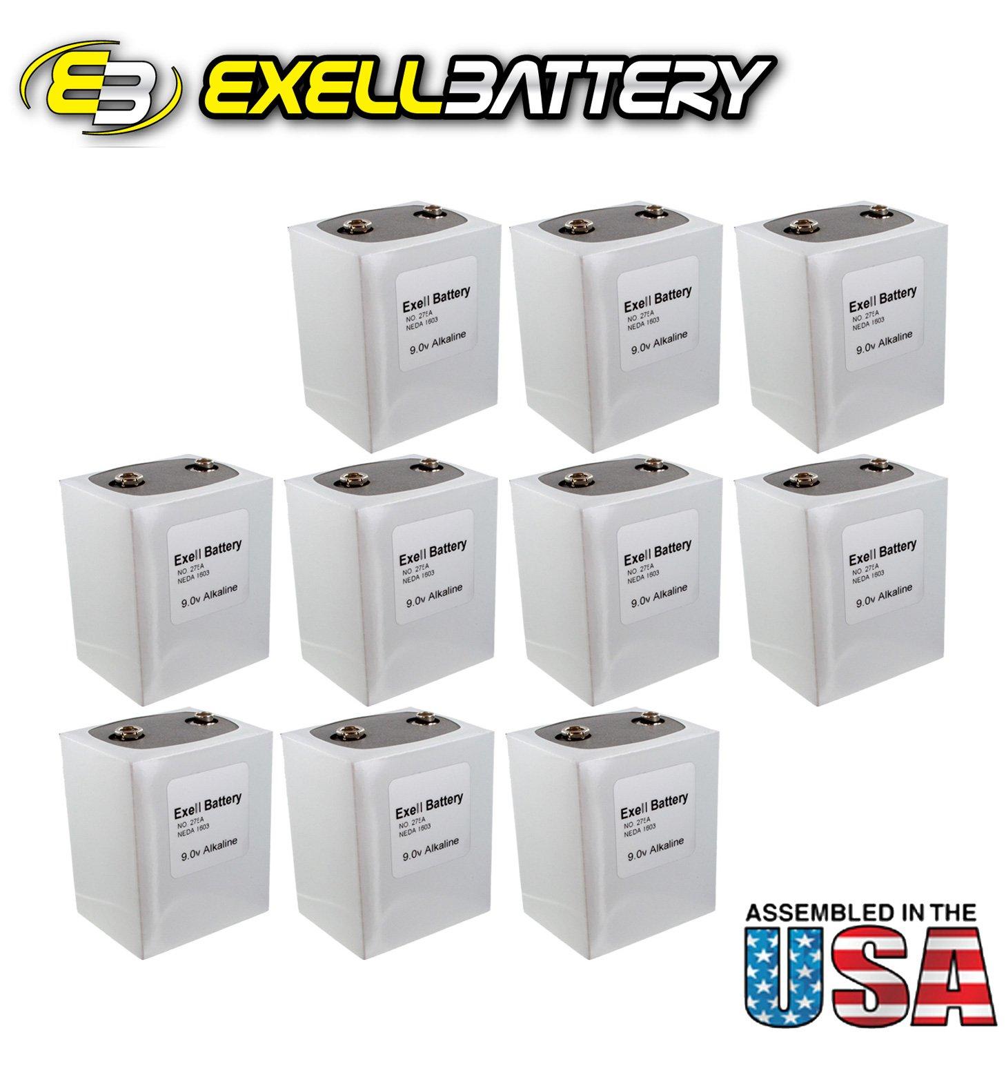 10pc Exell 276 Alkaline 9V Battery NEDA 1603, PP9, 6F100