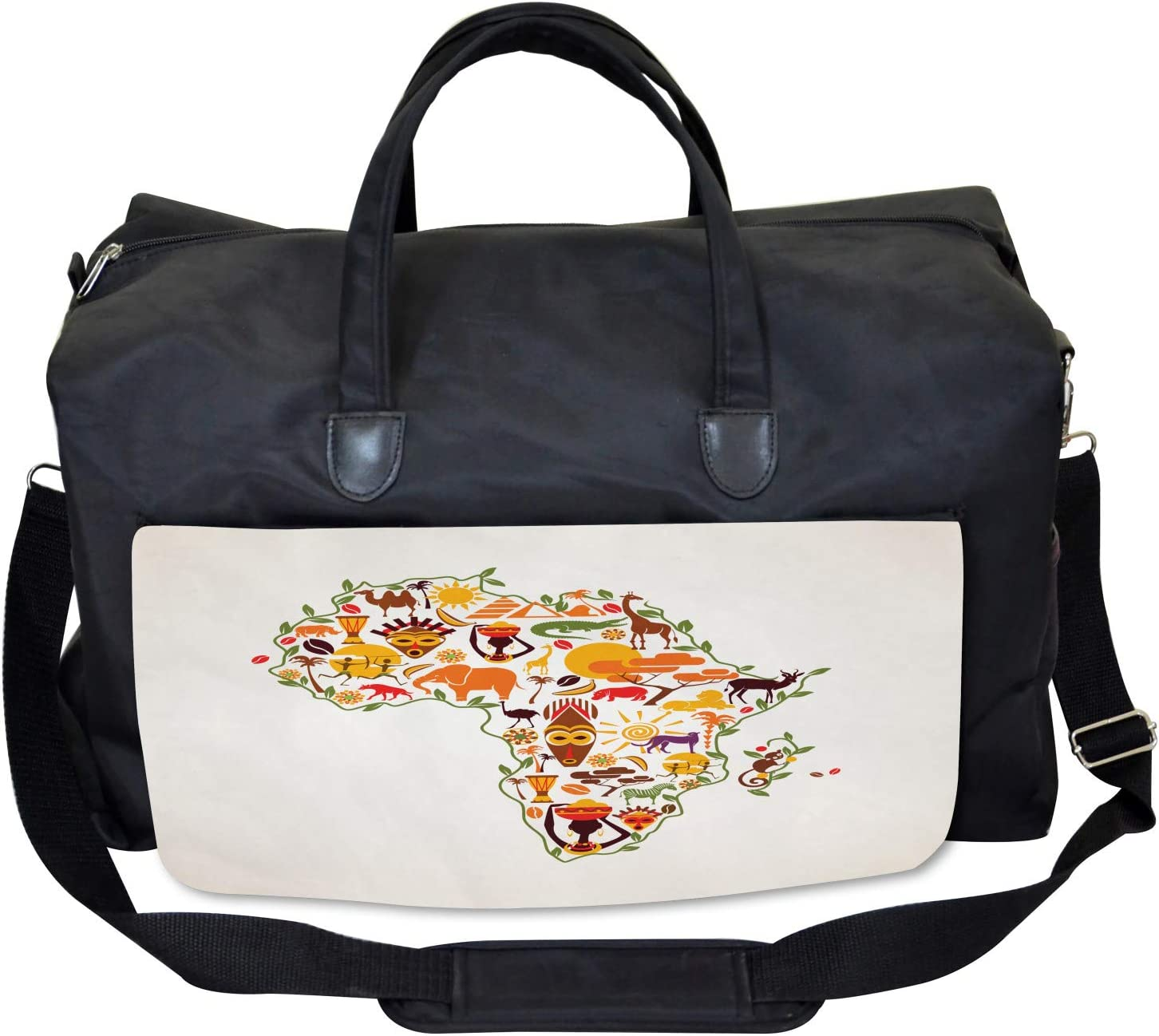 Large Weekender Carry-on Travel Map Ethnic Arts Ambesonne African Gym Bag