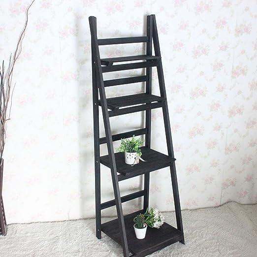 Befied Estantería para libros Librería de 3 / 4 baldas Estantería de baño Escalera Madera de Almacenamiento y Organización estantería de pared resistente (Negro, 4 baldas (111 x 41 x 34 cm)): Amazon.es: Hogar